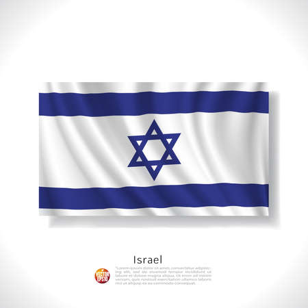 israeli: Israel waving flag isolated against white background, vector illustratio Illustration