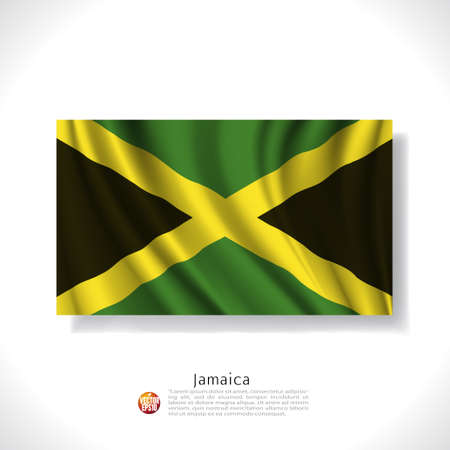 jamaica: Jamaica waving flag isolated against white background, vector illustration