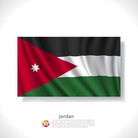 jordanian: Jordanië wapperende vlag geïsoleerd tegen een witte achtergrond, vector illustratie Stock Illustratie