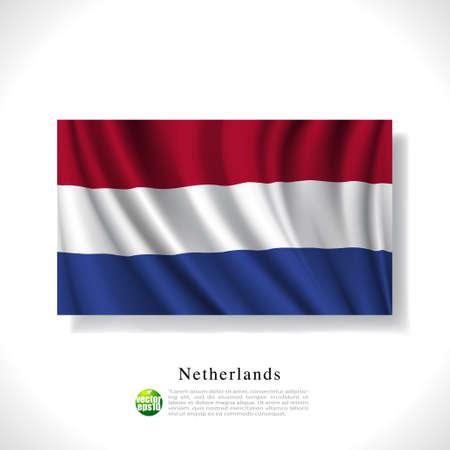 dutch flag: Netherlands waving flag isolated against white background, vector illustration