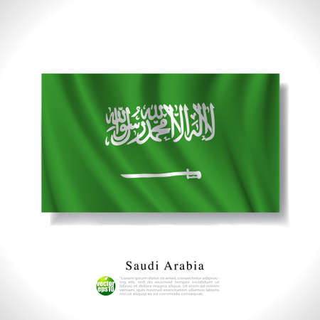Saudi Arabia waving flag isolated against white background, vector illustration