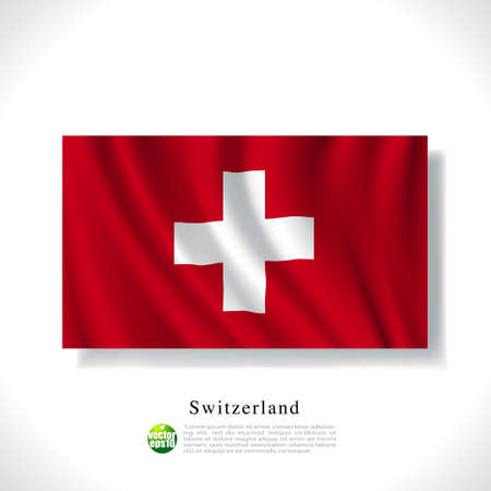 switzerland flag: Switzerland waving flag isolated against white background, vector illustration
