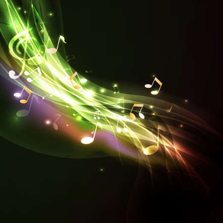 Shiny flow music note background and space for your text, vector illustration  Vector
