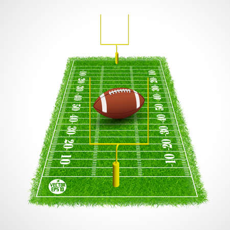 American football field perspective view with realistic grass textured, Vector illustration