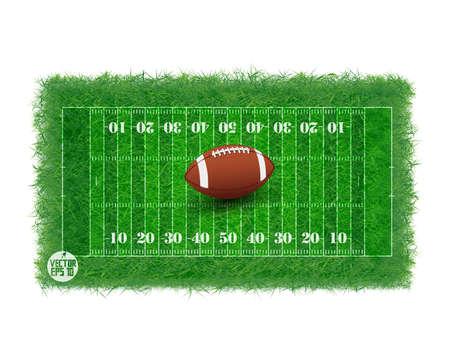 american football stadium: American football field with real grass textured, Vector illustration