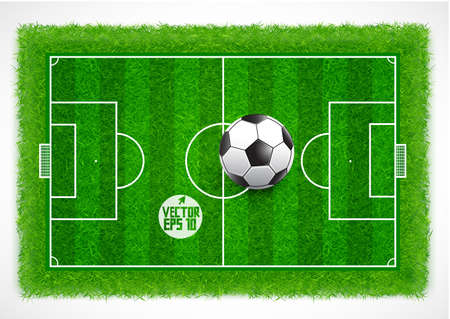 Football field top view with realistic green grass textured, Vector illustration