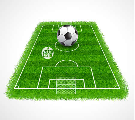Perspective view of an empty soccer field with realistic grass texture, Vector illustration