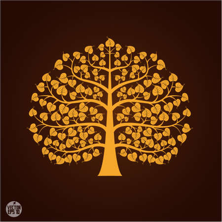 buddha tranquil: Golden Bodhi tree symbol, vector illustration