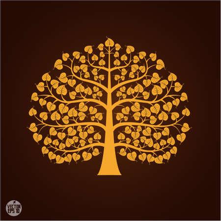 Oro Bodhi símbolo del árbol, ilustración vectorial Vectores