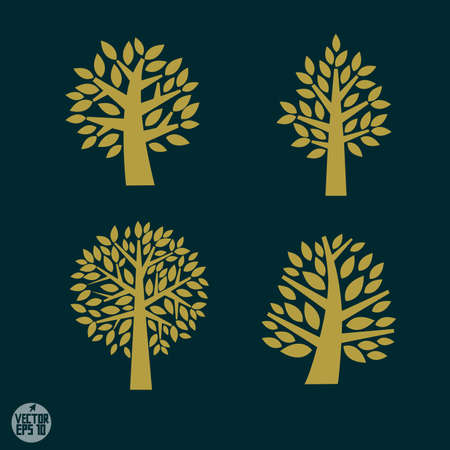 religious symbols: Set of gold Tree symbol isolated on dark background, vector illustration