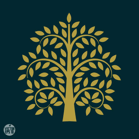 Gold tree symbol in Asia style, vector illustration
