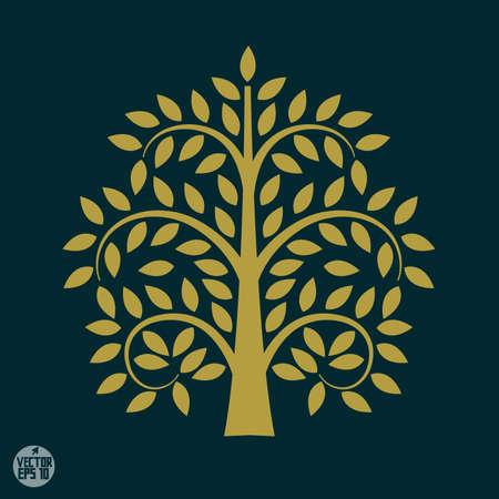baum symbol: Gold-Baum-Symbol in Asien-Stil, Vektor-Illustration