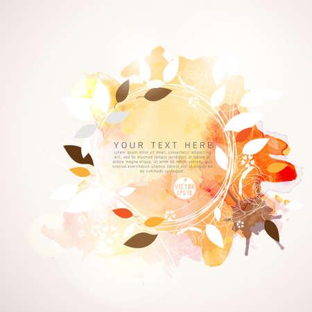 flores retro: hojas y pintura de acuarela de fondo y el espacio para su texto, ilustraci�n vectorial
