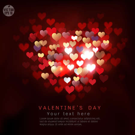 shiny hearts: Valentine hearts shiny background and space for text, vector illustration
