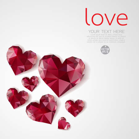 valueables: Red diamond hearts on Valentine day, Vector illustration