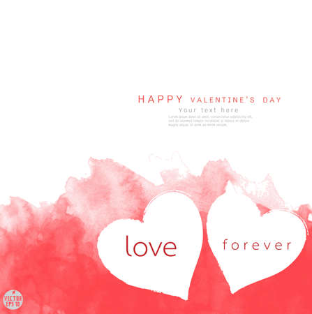 Valentine border with couple heart watercolor textured and space for text, illustration