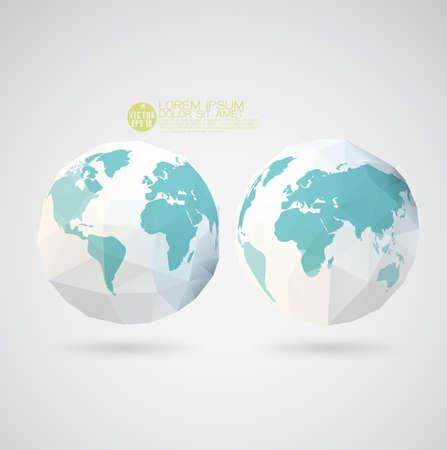 World map with polygon textured isolated on, illustration