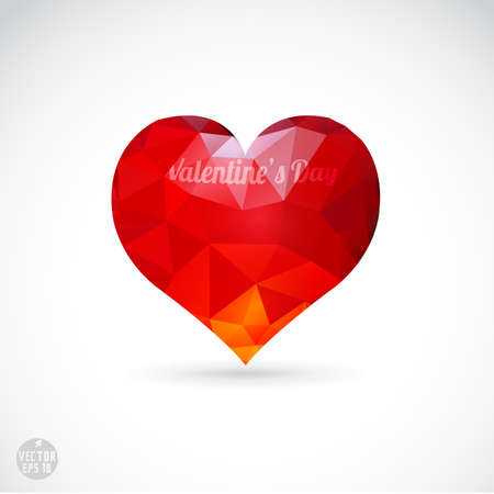 coeur diamant: Valentine coeur de diamant isoler fond blanc, illustration vectorielle