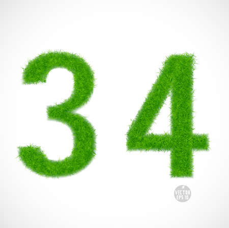 3, 4 number with grass textured isolated white background, vector illustration  Vector