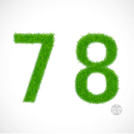 number 7: 7, 8 number with grass textured isolated white background, vector illustration