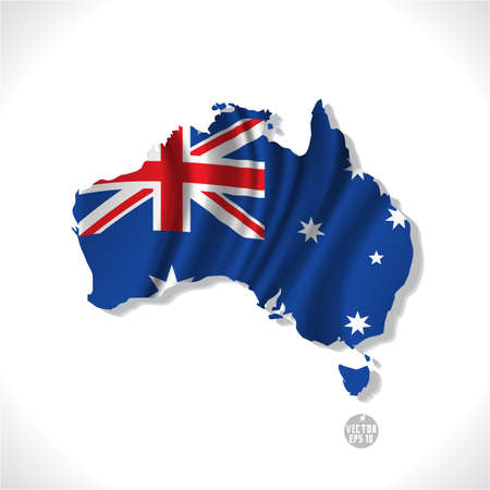 Australia map with waving flag isolated against white background, vector illustration  Ilustração