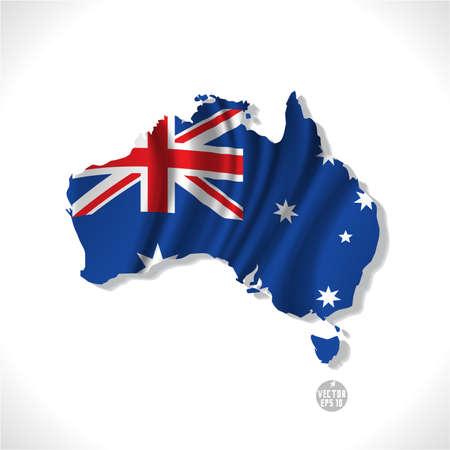 mapa: Australia y la bandera ondeando aislados sobre fondo blanco, ilustración vectorial Vectores