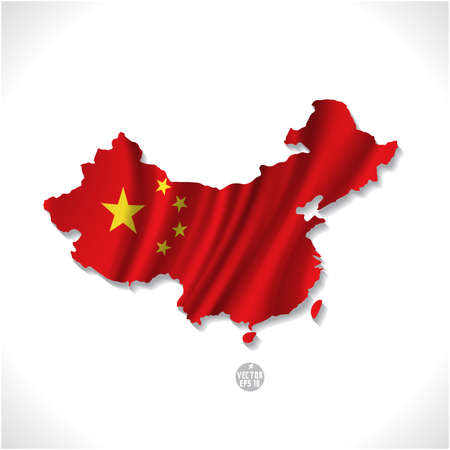 map of china: China map with waving flag isolated against white  illustration