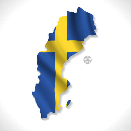 sweden flag: Sweden map with waving flag isolated against white illustration