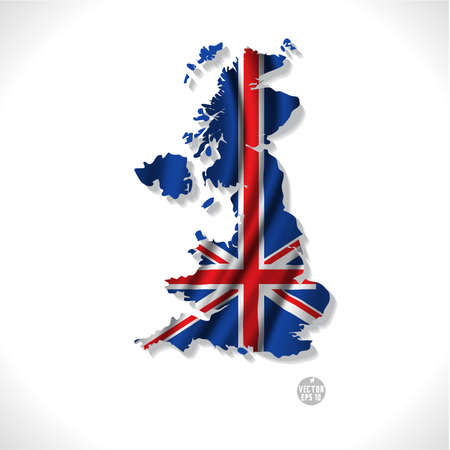 United Kingdom map with waving flag isolated against white illustration Фото со стока - 25525456
