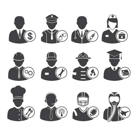 Occupation icons set, vector illustration