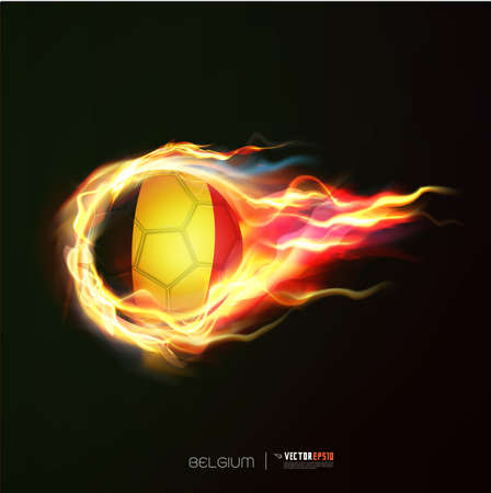 Belgium flag with flying soccer ball on fire isolated black background Illustration