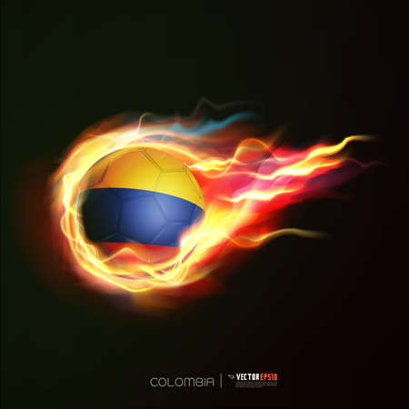 Colombia flag with flying soccer ball on fire isolated black background Vector