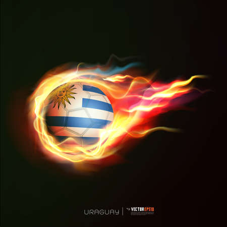 Uruguay flag with flying soccer ball on fire isolated black background Vector