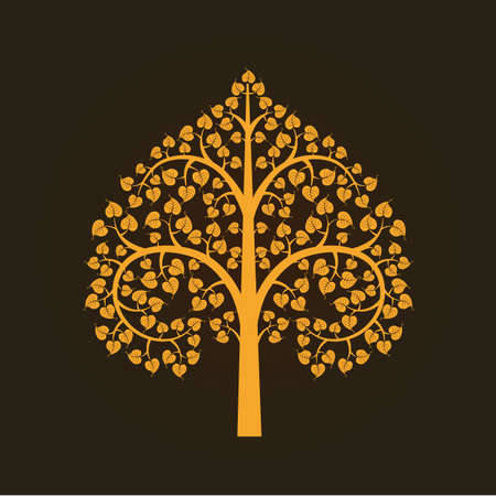 buddha tranquil: Golden Bodhi tree symbol, vector   illustration