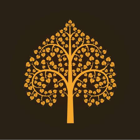 Oro Bodhi símbolo del árbol, ilustración vectorial Foto de archivo - 27198521