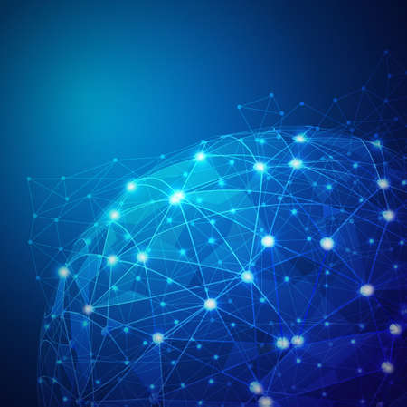 グローバル デジタル メッシュ ネットワーク、ベクトル イラスト  イラスト・ベクター素材