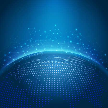 도트 디지털 세계지도와 글로벌 기술 메쉬 디지털 네트워크, 벡터 일러스트 레이 션 일러스트