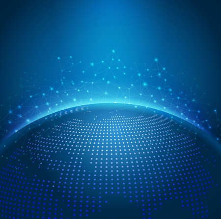 esfera: Red digital de malla de tecnología global con dot mapa del mundo digital, ilustración vectorial