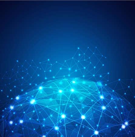 network concept: Global Digital mesh network, vector   illustration Illustration