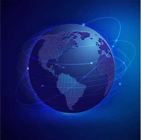 creative communication: Global network mesh with dot world map, vector  illustration  Illustration