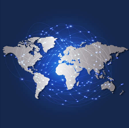 World map and technology mesh network, vector illustration