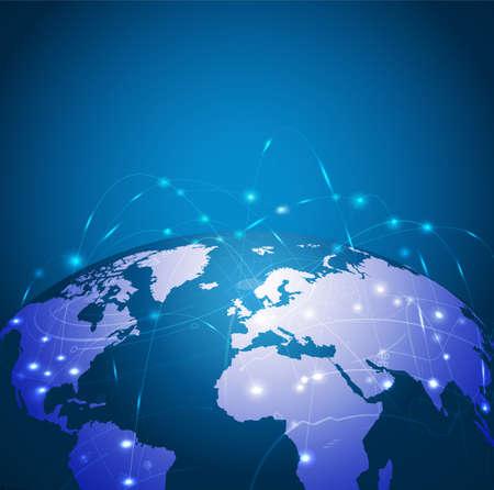 mapa mundi: Red de malla tecnolog�a mundo, ilustraci�n vectorial