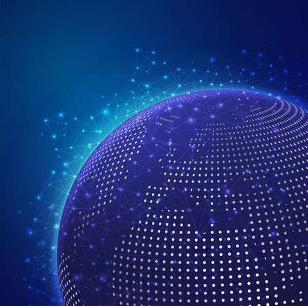 도트 세계지도, 벡터 일러스트와 함께 글로벌 기술 메쉬 디지털 네트워크 일러스트