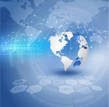 Mundial y la tecnología futurista de fondo, vector ilustrador