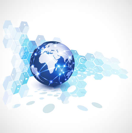 World network communication and technology, vector illustration