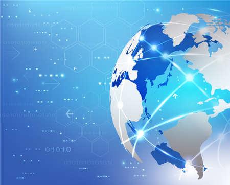 Wereldwijd netwerk communicatie en technologie achtergrond, vector illustratie Stock Illustratie