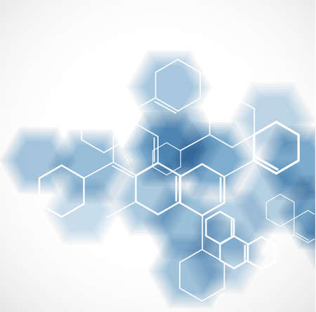 química y concepto molecular plantilla de fondo, ilustración vectorial