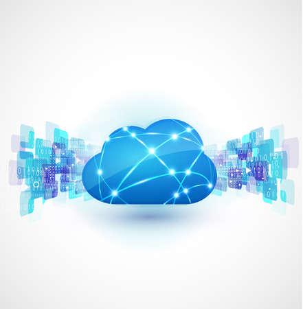 Cloud computing con il concetto di rete, illustrazione vettoriale Archivio Fotografico - 28526012