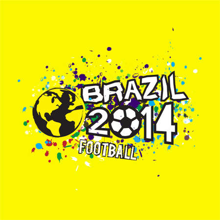 brazil 2014 header design on grunge texture background, vector illustration Иллюстрация