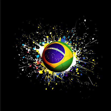 brazil flag with soccer ball dash on colorful   grunge texture on black background, vector illustration